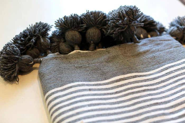 Moroccan Pom Pom Blanket, Md. Cotton in Slate w/ Cream Stripes