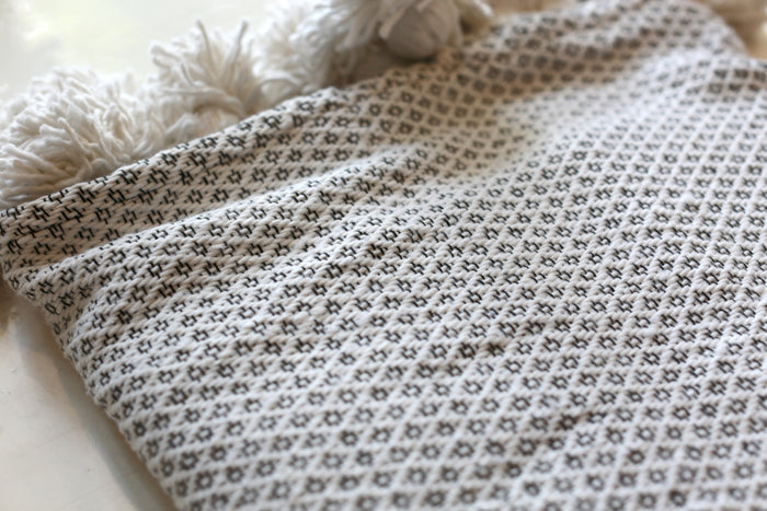 Moroccan Pom Pom Blanket, Lg. Cotton in Diamond Weave