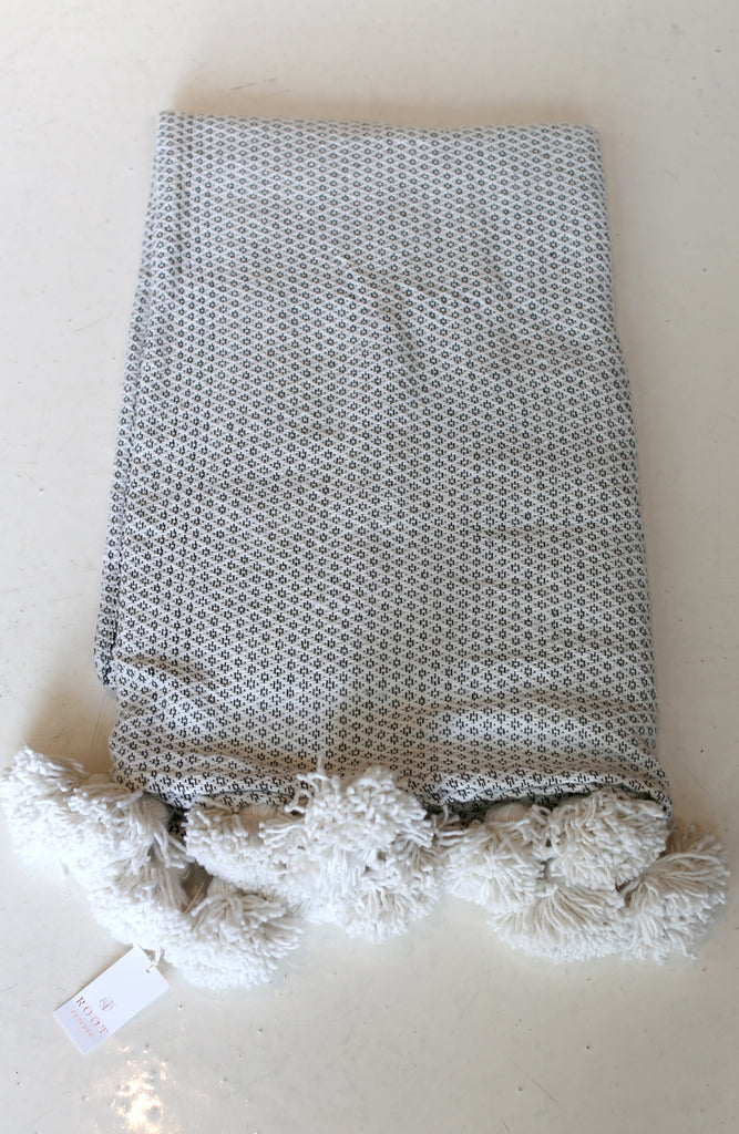 Moroccan Pom Pom Blanket, Lg. Cream Cotton in Diamond Weave