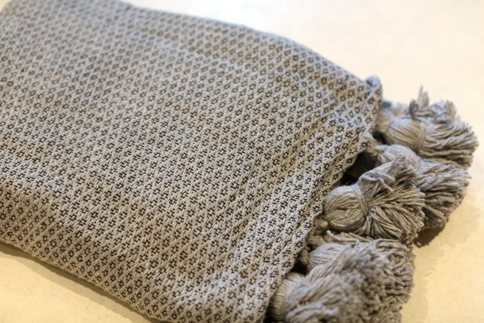 Moroccan Pom Pom Blanket, Md. Grey Cotton in Diamond Weave