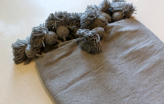 Moroccan Pom Pom Blanket, Lg. Cotton in Dove Grey