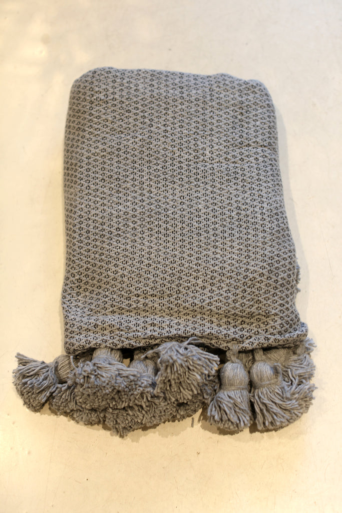 Moroccan Pom Pom Blanket, Lg. Grey Cotton in Diamond Weave