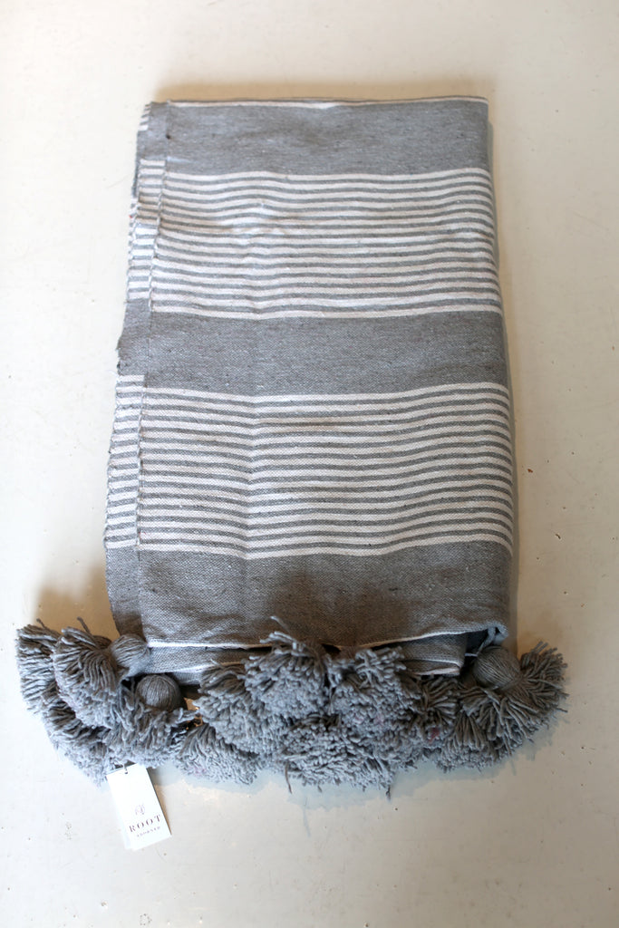 Moroccan Pom Pom Blanket, Lg. Cotton in Grey & Cream