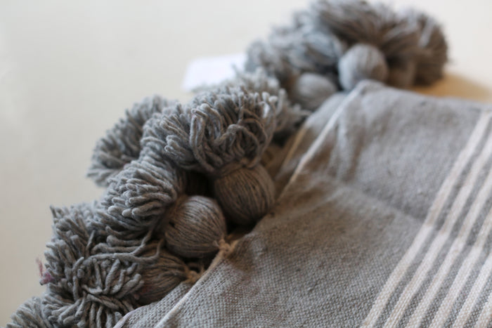 Moroccan Pom Pom Blanket, Md. Cotton in Grey & Cream
