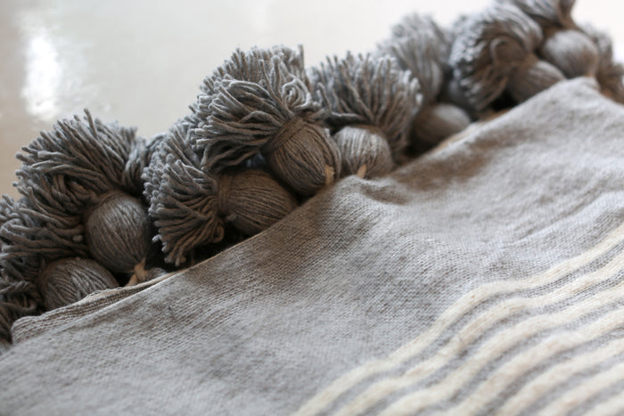 Moroccan Pom Pom Blanket, Lg. Wool in Grey & Cream