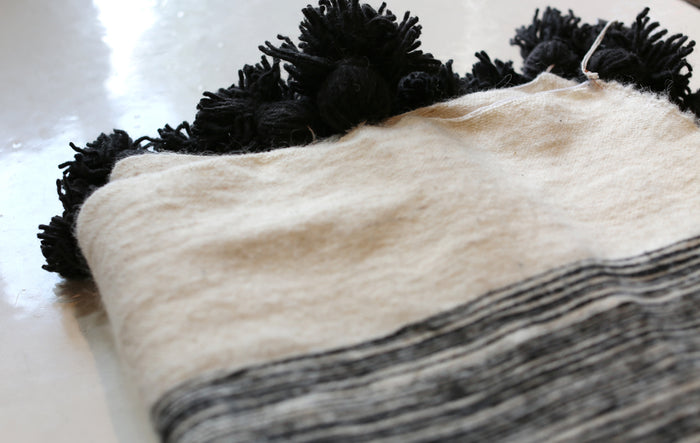 Moroccan Pom Pom Blanket, Lg. Wool in Black & Cream Marble