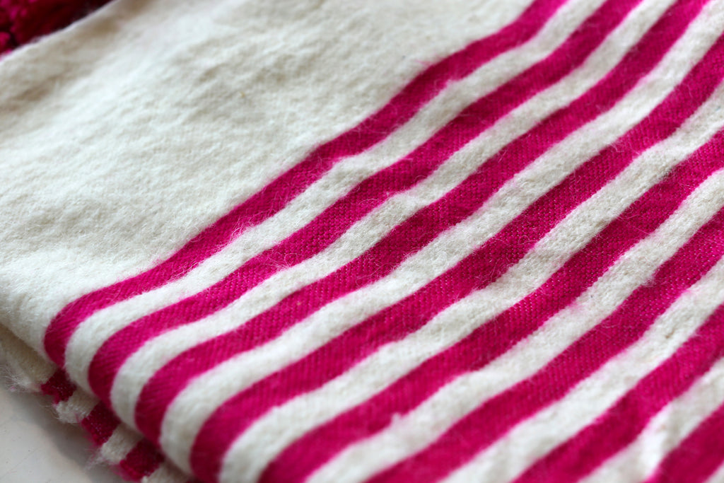 Moroccan Pom Pom Blanket, Lg. Wool in Hot Pink & Cream