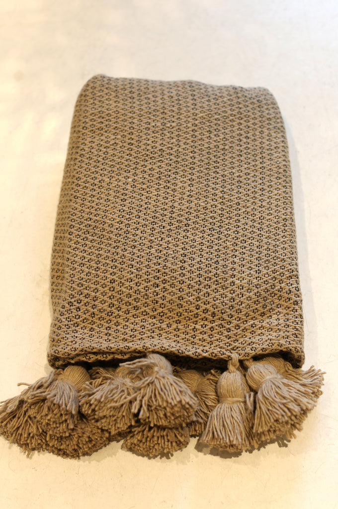 Moroccan Pom Pom Blanket, Lg. Taupe Cotton in Diamond Weave