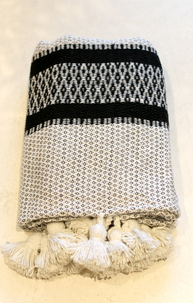 Moroccan Pom Pom Blanket, Lg. Cream Cotton with Diamond Accents