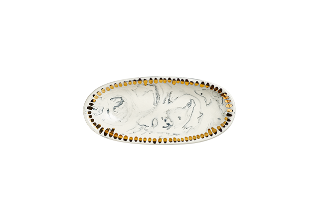 Marbled Porcelain Oval Dish with Gold Dashes