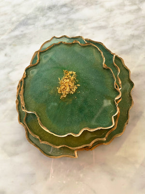 Resin Geode Coaster Set - Verdant