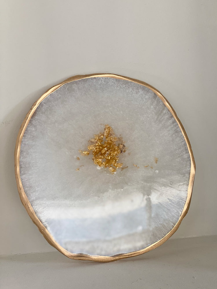 Resin Geode Tray - Ivory