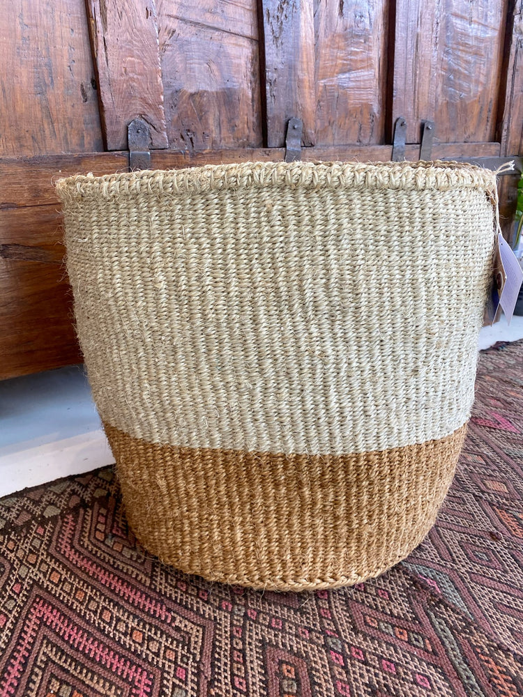 Load image into Gallery viewer, Two Tone Handwoven Sisal Basket from Kenya