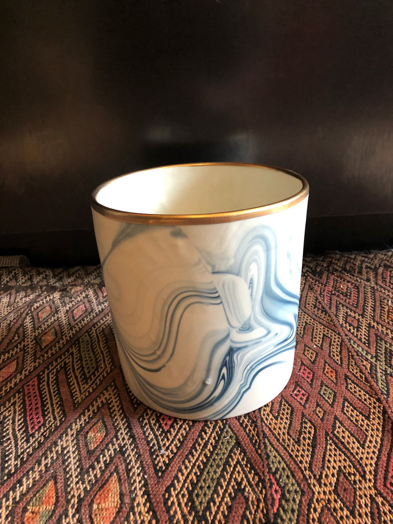 Medium Teal Marbled Porcelain Planter with Gold Rim