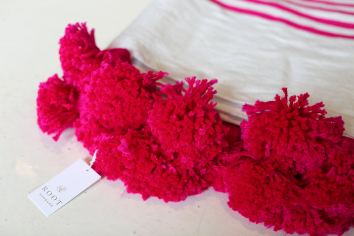 Moroccan Pom Pom Blanket, Lg. Cotton in Hot Pink & Cream