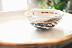 Marbled Porcelain Bowl with Gold Stripe
