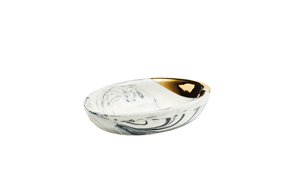 Marbled Oval Porcelain Dish with Gold Dip