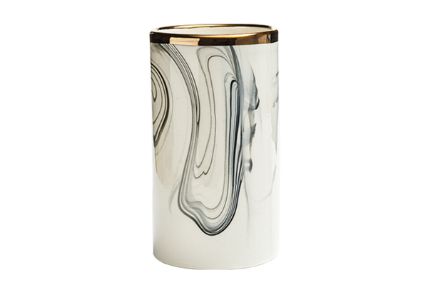 Marbled Wide Cylinder Vase