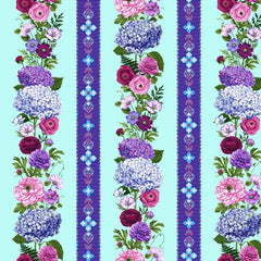 Henry Glass 2461-11 border stripe multi flowers with blue background