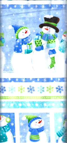 Cheerful white snowmen on snowy blue background with green and blue stripes below.