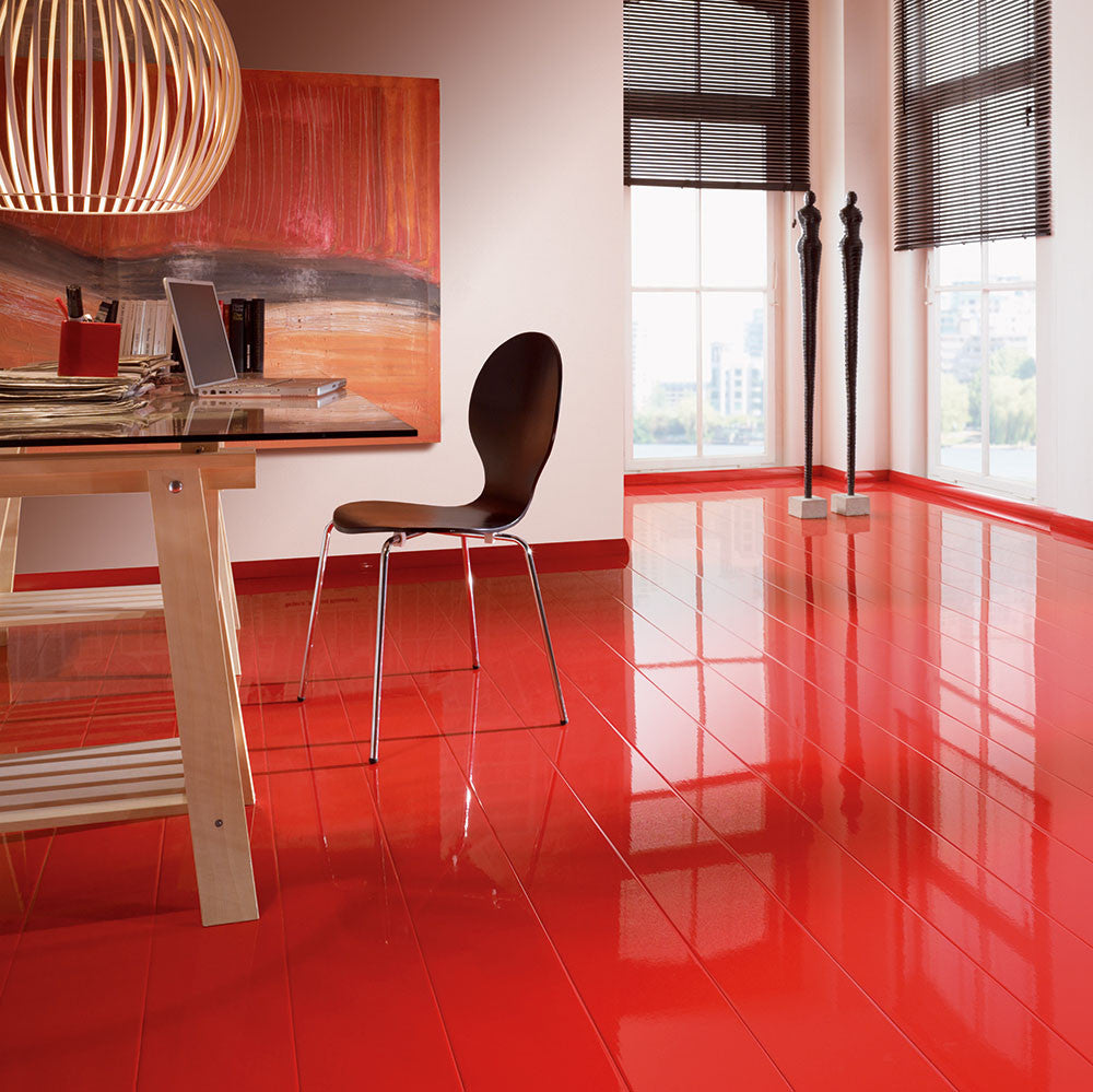 Cheap Flooring Stores: Elesgo Glamour Life Super Gloss Red Wood Laminate Floor