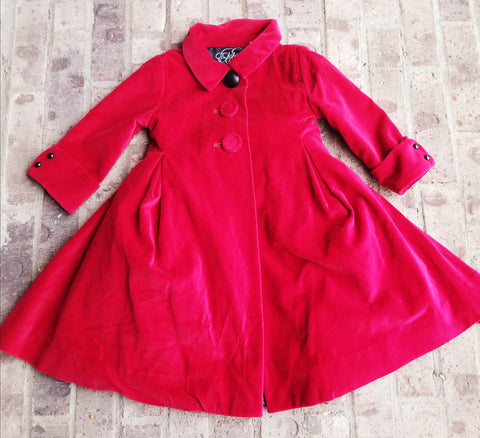 Girls Red Velvet Coat