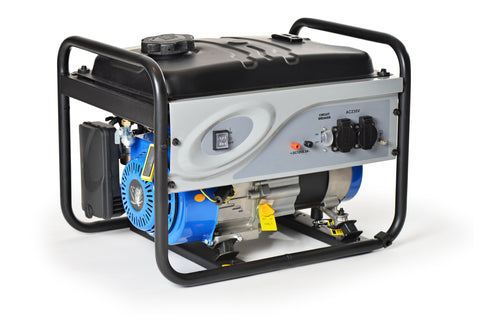 Black portable gas generator with blue motor and grey control panel