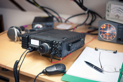 Radio Transceiver Station setup on a desk