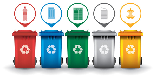 multicolored recycling bins with icons indicating their purpose