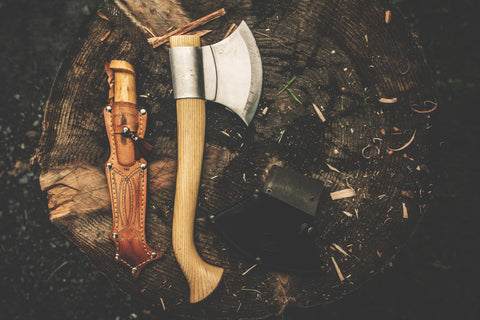 Survival hatchet and knife