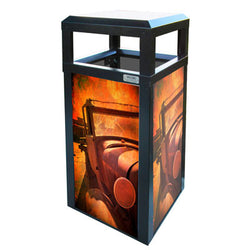 Outdoor Advertising Trash Can, Square, 40 Gallon - AC40OW-ADVERT