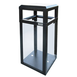 Outdoor Trash Can, Hinged Top, Square, DHS Complaint, Clear .250 Acrylic Panels, 40 Gallon - AC40OW-CS