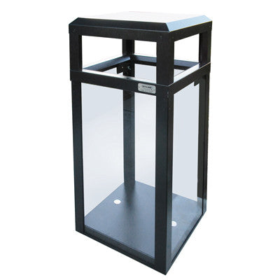 Outdoor Trash Can, Hinged Top, Square, DHS Compliant, Clear .250 Acrylic Panels, 40 Gallon - AC40OW-CS