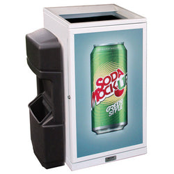 Indoor Convenience Store Advertising Trash Can, Square, 36 Gallon - HS36IW-ADVERT