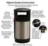 Indoor Trash Can Bin, Round, DHS Compliant, Clear .236 Panels, 55 Gallon - HS55IW-CS