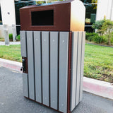 ValueLine Outdoor Trash Can, Slim Jim Rectangle, Powder Coated Solid Body, 32 Gallon - VL32OW