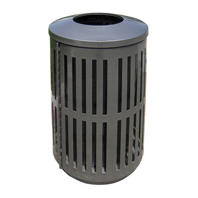 Indoor Outdoor Trash Can Round Decorative Slatted Sides
