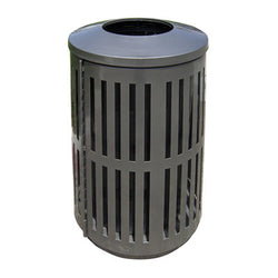 Indoor/Outdoor Trash Can, Round, Decorative Slatted Sides, 32 Gallon - TRD32-02