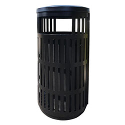 Outdoor Trash Can, Round, Decorative Slatted Sides, 36 Gallon - TRD36-01