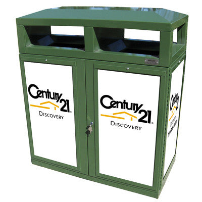 Outdoor Trash Can/Recycle Bin, Advertising Frames on Panels, 72 Gallon - HS245-ADVERT