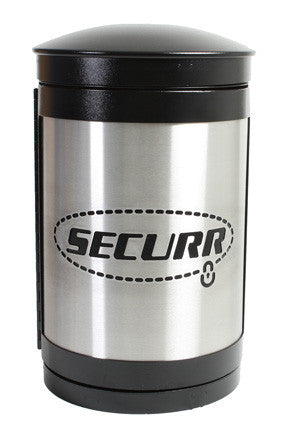 Indoor Trash Can, Round, Laser Cut Logo, Stainless Steel Panels, 35 Gallon - HS35IW-L-SS