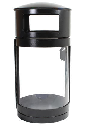 Outdoor Trash Can, Round, DHS Compliant, Clear .093 Panels, 35 Gallon - HS35OW-CS093