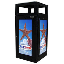 Outdoor Trash Can, Square, Solid Body with Advertising Frames, 36 Gallon - HS45OW-ADVERT