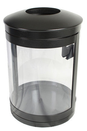Indoor Trash Can Bin, Round, DHS Complaint, Clear .236 Panels, 55