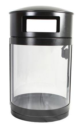 Outdoor Trash Can, Round, DHS Compliant, Clear .236 Panels, 55 Gallon - HS55OW-CS