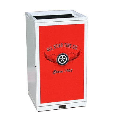 Indoor Advertising Trash Can, Square, 36 Gallon - HS36IW-ADVERT