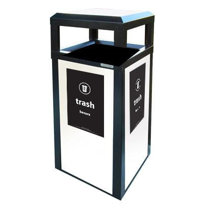 Outdoor Trash Can, Square, Multiple Panel Options, 40 Gallon - AC40OW