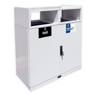 Double Food Court Waste Receptacle, Powder Coated, 72 Gallon - FC236