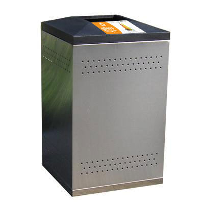 Flex Series. Stainless Steel Custom Indoor Trash Can / Recycle Bin. 50 gallons - Model FX50-01-SS