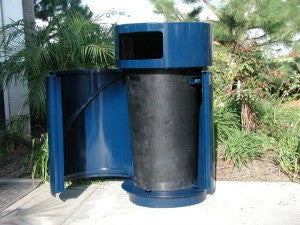 Outdoor Trash Can Round Powder Coated 35 Gallon